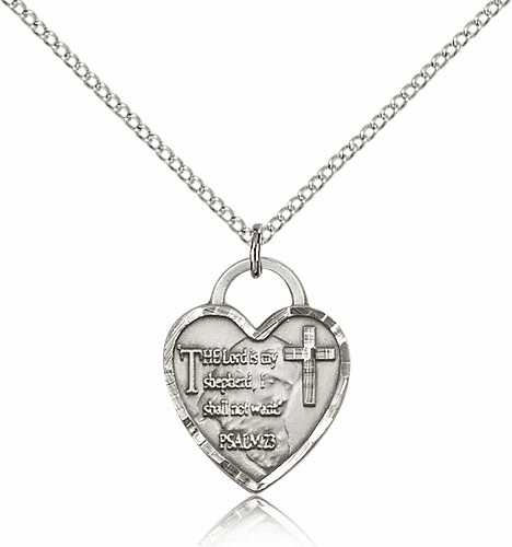 Bliss Sterling Silver Lord is my Shepherd Heart Pendant Necklace