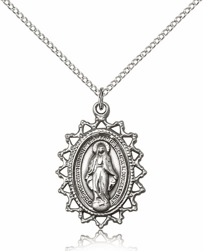 Bliss Sterling Silver Miraculous Medal Pendant Necklace