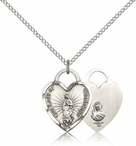 Bliss Sterling Silver Our Lady of Guadalupe Heart Pendant Necklace