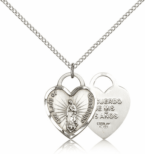 Bliss Sterling Silver Our Lady of Guadalupe Heart Recuerdo Heart Pendant Necklace