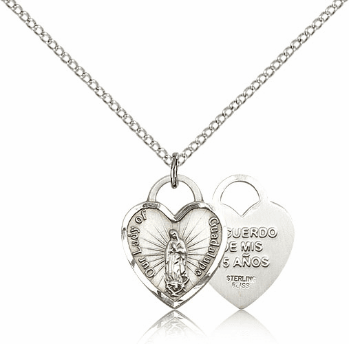 Bliss Sterling Silver Our Lady of Guadalupe Heart Recuerdo Pendant Necklace