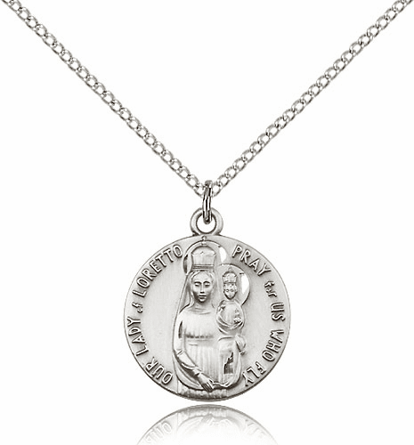 Bliss Sterling Silver Our Lady of Loretto Patron of Aviators Necklace