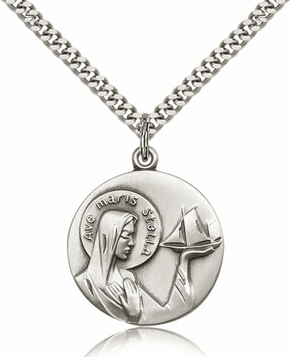 Bliss Sterling Silver Our Lady Star of the Sea Pendant