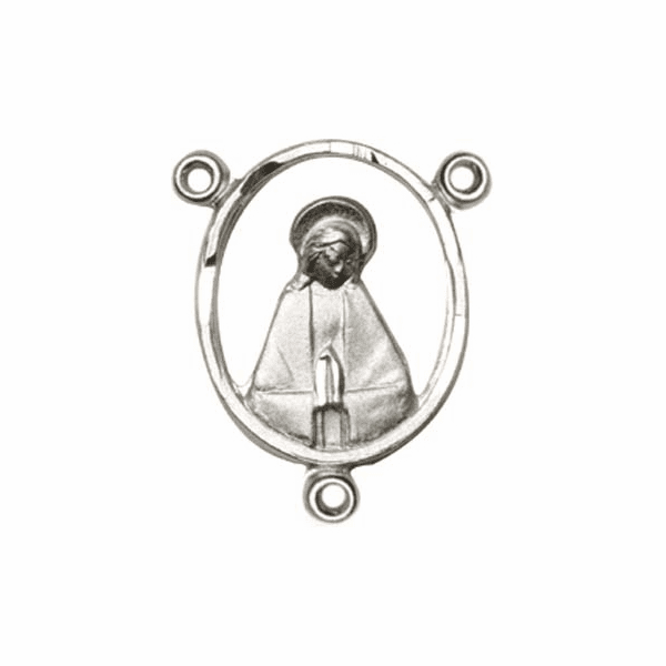 Bliss Sterling Silver Praying Mary Rosary Center Part