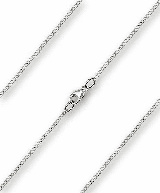 Bliss Sterling Silver-Rhodium Finished 1.20mm Lite Curb Necklace Chain w/Lobster Clasp
