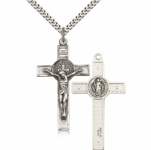 Bliss Sterling Silver St Benedict Crucifix Pendant Necklace
