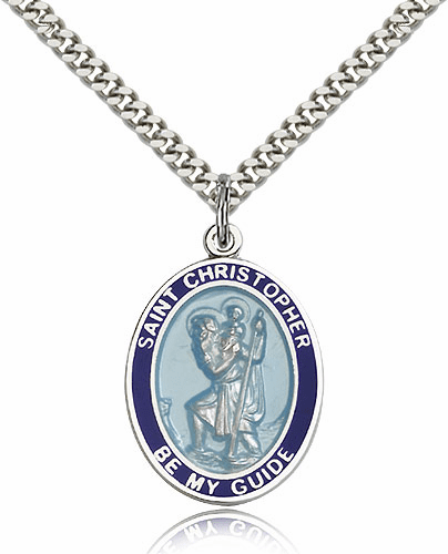 Bliss Sterling Silver St Christopher Blue Border Necklace