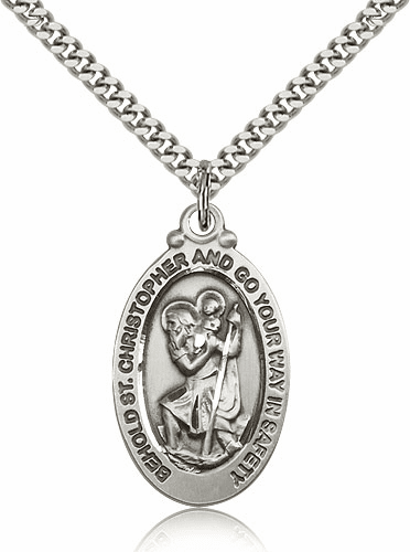 Bliss Sterling Silver St. Christopher Patron Saint Pendant