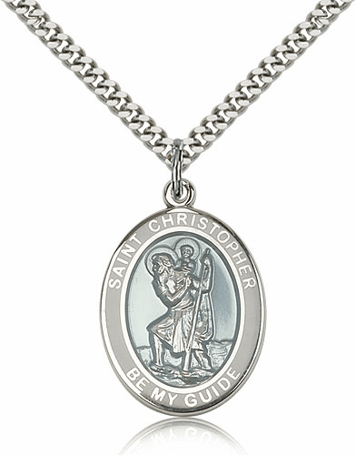 Bliss Sterling Silver St Christopher White Border Necklace