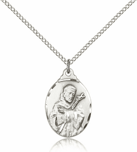 Bliss Sterling Silver St Francis of Assisi Pendant Necklace