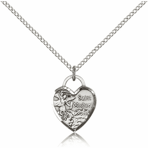 Bliss Sterling Silver St Michael Heart Pendant Necklace