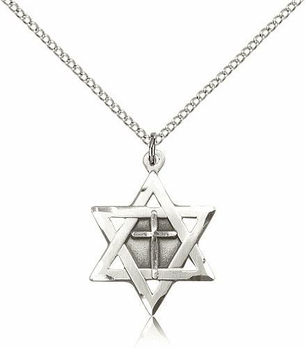 Bliss Sterling Silver Star of David Medal Necklace