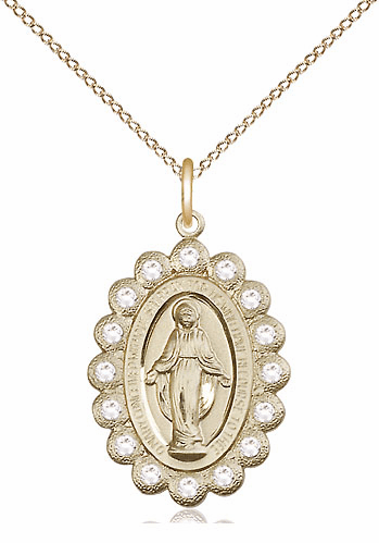 Bliss April Crystal 14kt Gold-filled Miraculous Pendant