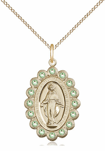 Bliss August Peridot 14kt Gold-filled Miraculous Pendant