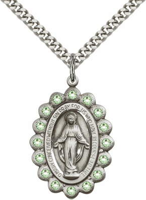 Bliss August Peridot Sterling Silver Miraculous Pendant