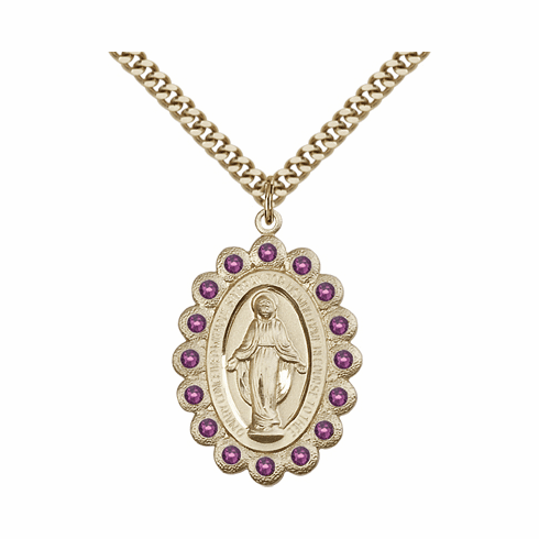 Bliss Swarovski February Amethyst 14kt Gold-filled Miraculous Pendant