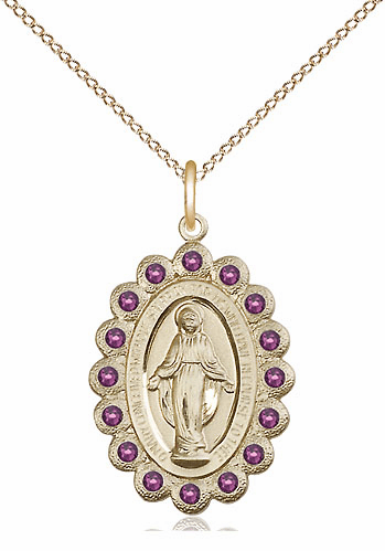 Bliss February Amethyst 14kt Gold-filled Miraculous Pendant