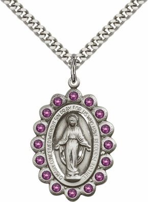 Bliss February Amethyst Sterling Silver Miraculous Pendant