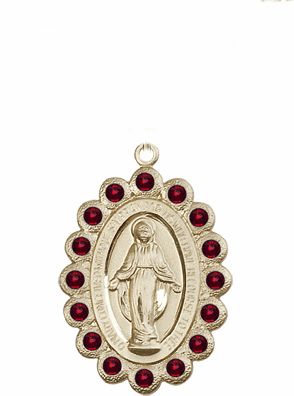 Bliss Swarovski January Garnet 14kt Gold Miraculous Pendant