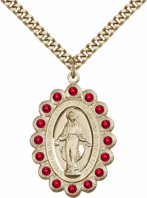Bliss Swarovski July Ruby 14kt Gold-filled Miraculous Pendant