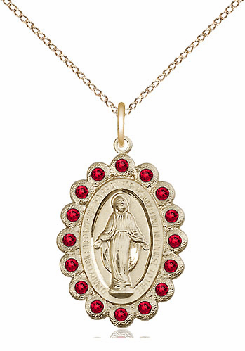 Bliss July Ruby 14kt Gold-filled Miraculous Pendant