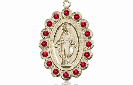 Bliss July Ruby 14kt Gold Miraculous Pendant