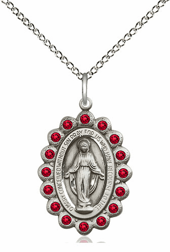 Bliss July Ruby Sterling Silver Miraculous Pendant