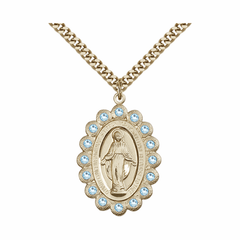 Bliss Swarovski March Aqua 14kt Gold-filled Miraculous Pendant