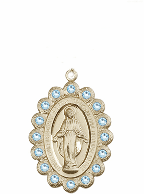 Bliss Swarovski March Aqua 14kt Gold Miraculous Pendant