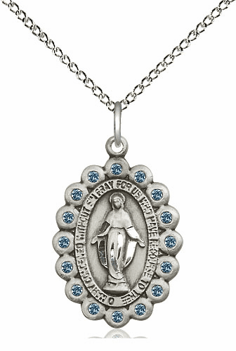 Bliss March Aqua Sterling Silver Miraculous Pendant