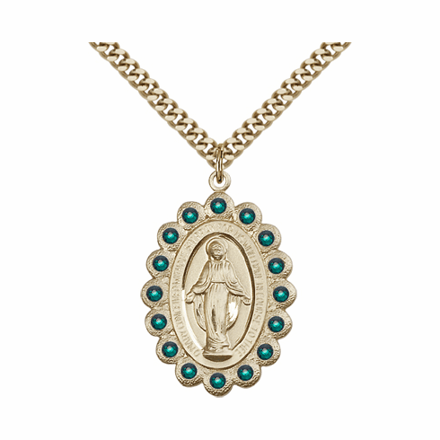 Bliss Swarovski May Emerald 14kt Gold-filled Miraculous Pendant