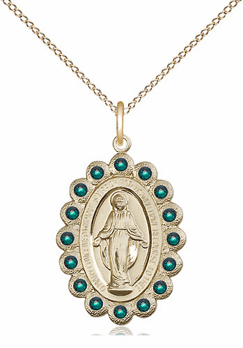 Bliss May Emerald 14kt Gold-filled Miraculous Pendant