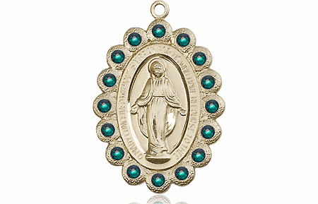 Bliss May Emerald 14kt Gold Miraculous Pendant
