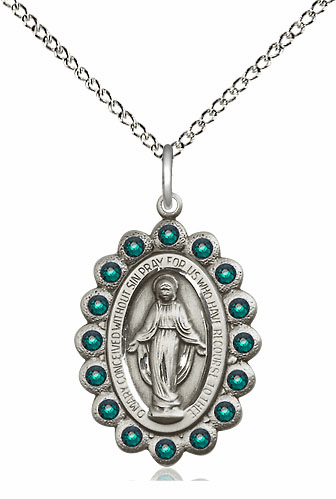 Bliss May Emerald Sterling Silver Miraculous Pendant
