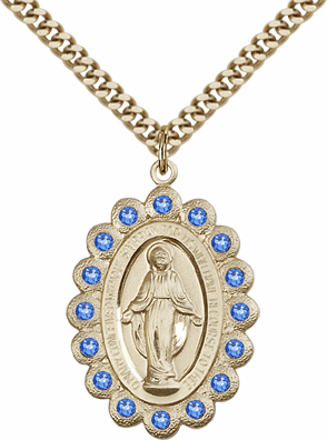 Bliss Swarovski September Sapphire 14kt Gold-filled Miraculous Pendant