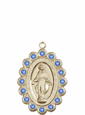 Bliss Swarovski September Sapphire 14kt Gold Miraculous Pendant