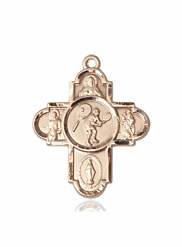 Bliss Tennis 5-Way Cross Sport 14kt Gold Medal