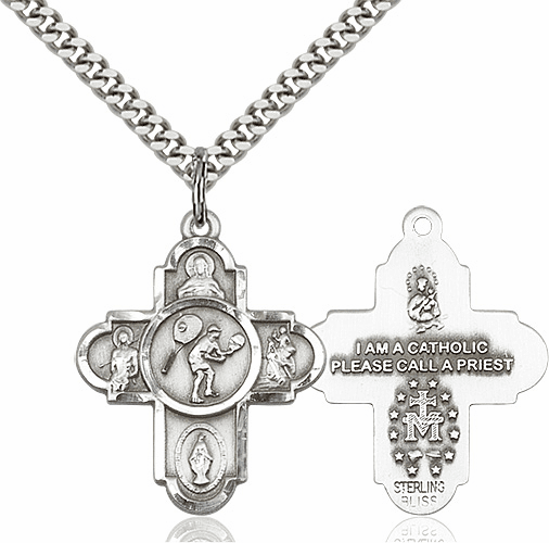 Bliss Tennis 5-Way Cross Sport Sterling-Filled Medal