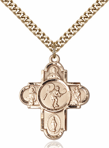 Bliss Tennis 5-Way Gold-filled Cross Sports Medal