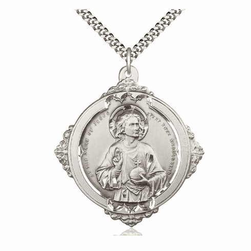 Bliss the Holy Name Sterling Medal Necklace
