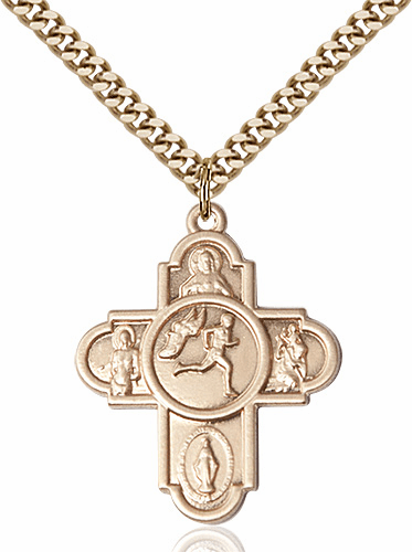 Bliss Track &  Field Gold-filled 5-Way Cross Sports Medal