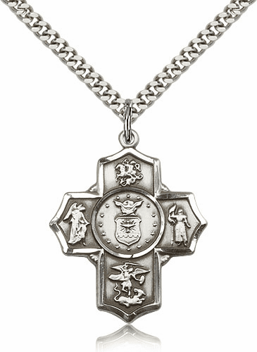 Bliss US Air Force 5-Way Military Pewter Cross Medal Necklace