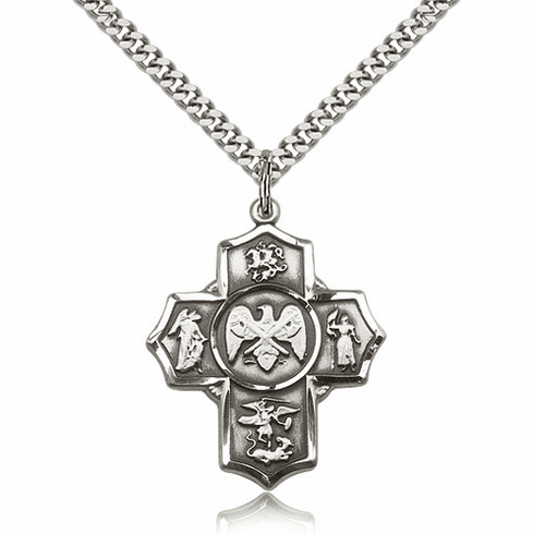 Bliss US National Guard 5-Way Military Pewter Cross Medal Necklace