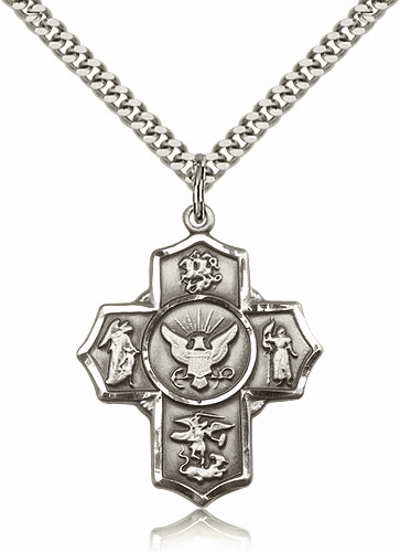 Bliss US Navy 5-Way Military Pewter Cross Medal Necklace