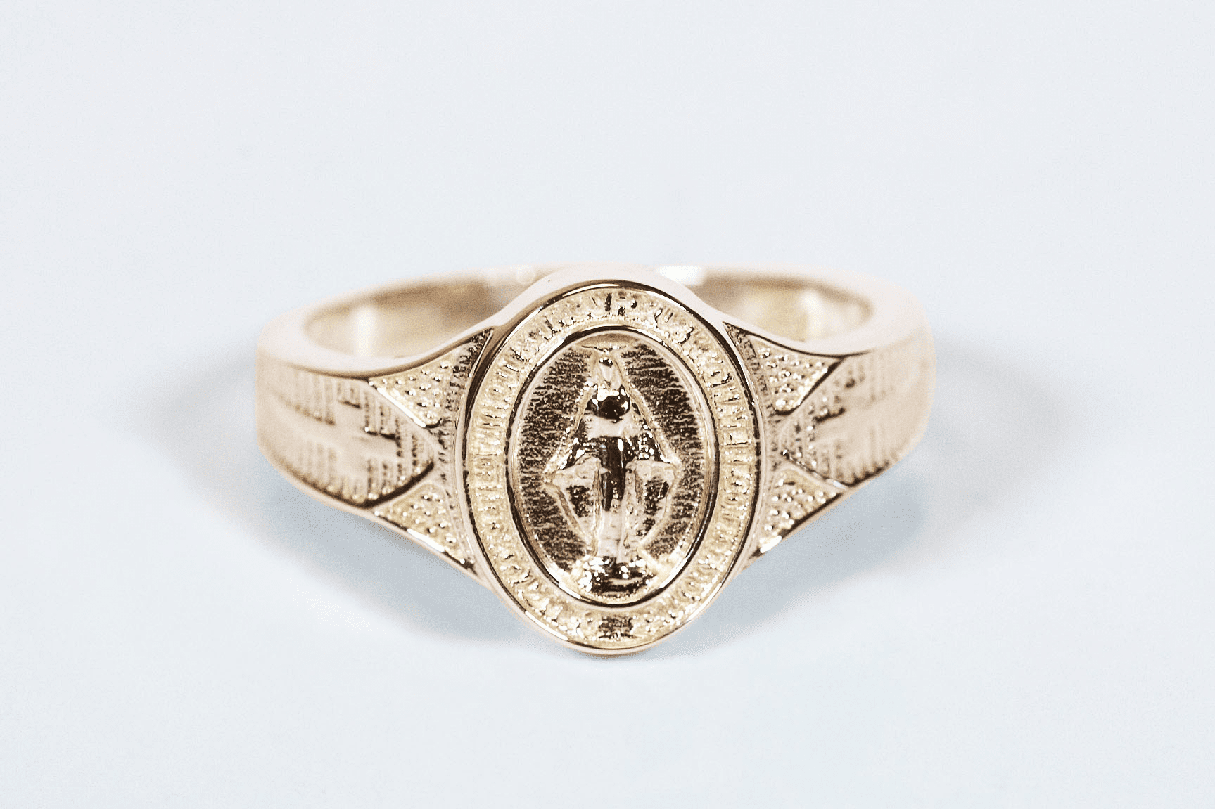Bliss Women's Catholic 14kt Yellow Gold Miraculous Medal Ring