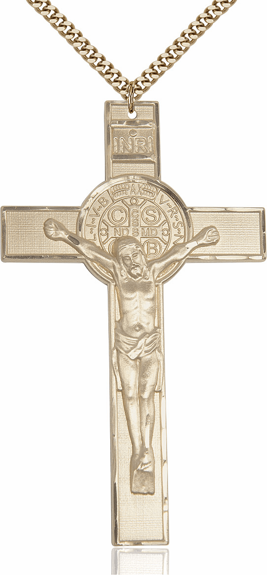 Bliss XLarge St. Benedict 14kt Gold-filled Crucifix w/Chain