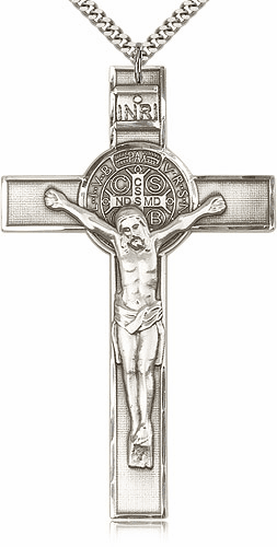 Bliss XLarge St. Benedict Silver-filled Crucifix w/Chain