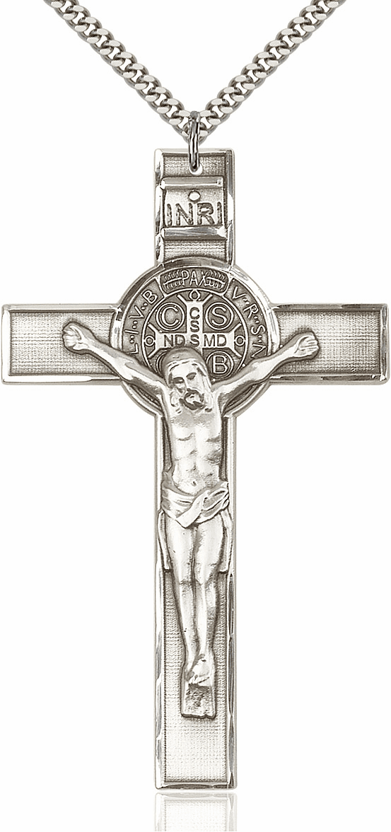 Bliss XLarge St. Benedict Sterling Silver Crucifix w/Chain