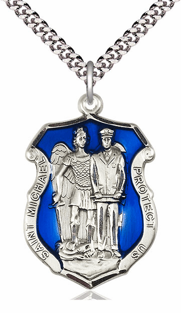 Blue Epoxy St Michael the Archangel Police Shield Patron Saint Silver Saint Medal by Bliss Manufacturing