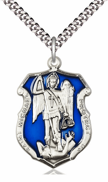 Blue Epoxy St Michael the Archangel Police Shield Silver Medal by Bliss